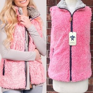 SIMPLY SOUTHERN Frosted Tip Sherpa Vest- Pink